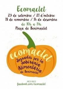 ECOMACLET: Dissabte 21 de 10h a 14h a la Plaça de Benimaclet