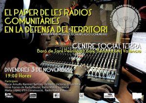 DIVENDRES 3 DE NOVEMBRE A LES 19H: EL PAPER DE LES RÀDIOS COMUNITÀRIES EN LA DEFENSA DEL TERRITORI.